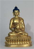 Statue Amitabha, 08 inch, Fully Gold Plated, Very Fine Quality