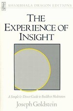 Experience of Insight, A Simple & Direct Guide to Buddhist Meditation <br> By: Joseph Goldstein