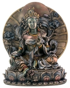 Statue Green Tara resin, 09.75 inch. Hand painted.