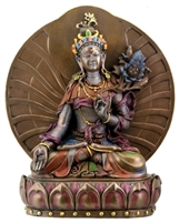 Statue White Tara resin with Back, 06.5 inch. Hand painted.