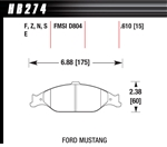 Hawk Performance HPS Performance Street Brake Pads (4) Front 99-04 Mustang