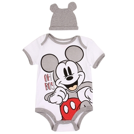 Wholesale MICKEY MOUSE Boys Newborn 2PC Creeper Hat Set