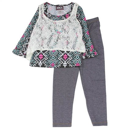 Wholesale RMLA Girls 4-6X Legging Set w/ Necklace