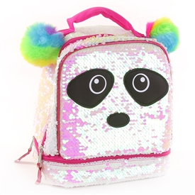 Wholesale SEQUIN PANDA Drop Bottom Lunch Bag
