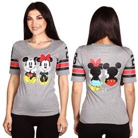 Wholesale MICKEY/MINNIE Juniors Front/Back Print Hockey T-shirt
