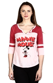 Wholesale MINNIE MOUSE Juniors 3/4 Sleeve Top