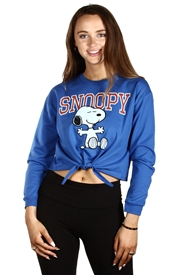 Wholesale SNOOPY Junior Ladies French Terry Tie Front Top