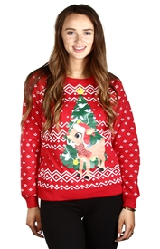 Wholesale Rudolph Ladies Plus  Light Up Holiday Sweatshirt