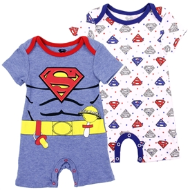 Wholesale SUPERMAN Boys Newborn 2-Pack Rompers