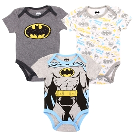 Wholesale BATMAN Boys Newborn 3-Pack Creepers