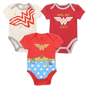 Wholesale WONDER WOMAN Girls Newborn 3-Pack Creepers