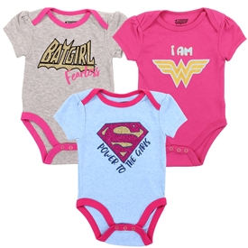 Wholesale JUSTICE LEAGUE Girls Newborn 3-Pack Creepers