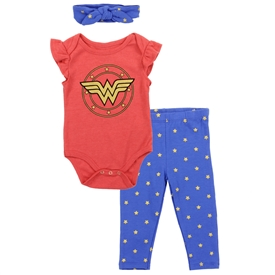 Wholesale WONDER WOMAN Girls Newborn 3PC Pant Set W/Headband