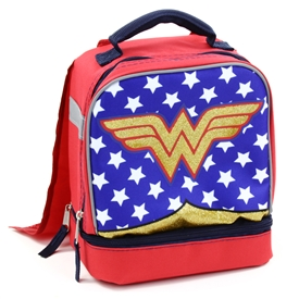 Wholesale WONDER WOMAN Drop Bottom Lunch Bag With Cape