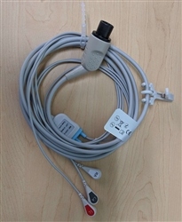 Edan 3-lead ECG Integrative Cable w/ Leadwires, (Snap Defibrillation)