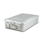 "Sklar SklarLite Mid Size Sterilization Container Safe Model 18 1/4"" x 11"" x 4"" Silver Non Perforated Bottom"