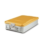 "Sklar SklarLite Mid Size Sterilization Container Safe Model 18 1/4"" x 11"" x 4"" Yellow Non Perforated Bottom"