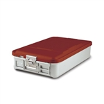 "Sklar SklarLite Mid Size Sterilization Container Safe Model 18 1/4"" x 11"" x 4"" Red Non Perforated Bottom"
