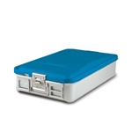 "Sklar SklarLite Mid Size Sterilization Container Safe Model 18 1/4"" x 11"" x 4"" Blue Non Perforated Bottom"