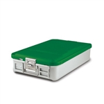 "Sklar SklarLite Mid Size Sterilization Container Safe Model 18 1/4"" x 11"" x 4"" Green Non Perforated Bottom"