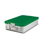 "Sklar SklarLite Mid Size Sterilization Container Safe Model 18 1/4"" x 11"" x 4"" Green Perforated"