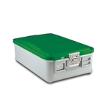 Sklar SklarLite Mid Size Sterilization Container Safe Model Green Non-Perforated Bottom