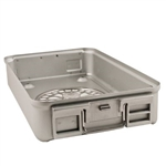 "Sklar SklarLite Sterilization Mid Size Container Bottom 18 1/4"" x 11"" x 5"" Silver Perforated Bottom"