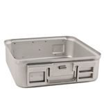 "Sklar SklarLite Sterilization Half Size Container Bottom 11 3/4"" x 11"" x 8"" Perforated (Silver)"