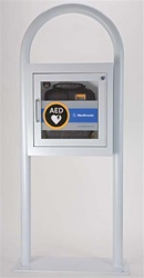 AED Floor Stand Cabinet with Alarm - White