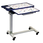 "Novum Medical Pediatric Overbed Table - Single Top 18"" x 32"", Cupholders with Vanity"