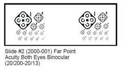 2000-001 Vision Tester Individual Slide for Optec 5000 Series: Far Point Acuity Both Eyes Binocular (20/200-20/13)