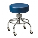 Clinton Classic Series Chrome Base Exam Stool with Round Footring