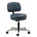 Clinton Select Series 5-Leg Spin Exam Stool with Aluminum Base and Backrest