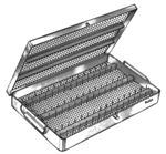 "Miltex Micro Instruments Sterilizing Case with Handle and Removable Cover - 8"" x 12¼"" x 1¼"""