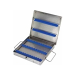 "Miltex Micro Sterilization Instrument Case - 8½"" x 8"" x 1¼"" - Double Rows Of Silicone Rubber On Bottom"