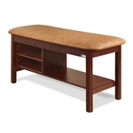 Clinton 300 Flat Top Classic Series Straight Line Treatment Table w/ Shelving