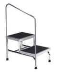 Brewer Heavy Duty Two-Step Step Stool with Handrail - 600 lb Capacity