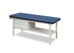 Clinton Flat Top, Alpha Series, Straight Line Treatment Table/Shelf and Two Drawers