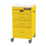 Harloff Infection Control Cart, Four Drawers with Basic Electronic Pushbutton Lock