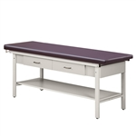 Clinton 3500 Flat Top ETA Alpha S-Series Treatment Table w/ 2 Drawers & Full Shelf