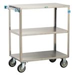 Lakeside Medium Duty, 3 Shelf, All Edges Turned Down, Medium Utility Cart