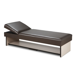 Clinton Panel Leg Couch with Full Shelf