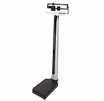 Health O Meter Mechanical Beam Scale with Height Rod and Wheels