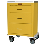 "Harloff Mini24 Infection Control Cart, Three Drawers with Key Lock, Pontoon Bumper and 5"" Casters"