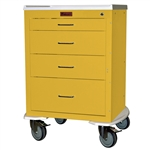 "Harloff Mini24 Infection Control Cart, Four Drawers with Key Lock, Pontoon Bumper and 5"" Casters"