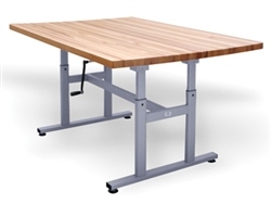 Hausmann Deluxe Crank Butcher Block Work Tables