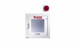 AED Wall Cabinet: Semi-Recessed with Alarm & Strobe, Security Enabled