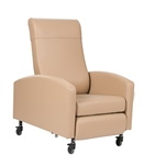 "Winco XL Vero Care Cliner w/ Push Back, Fixed Arms & 3"" Casters"
