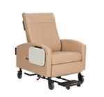 "Winco Vero XL Care Cliner, Push Back, Fixed Arms, 5"" Casters & Footplate"