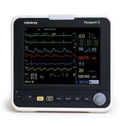 Passport 8 Patient Monitor w/ Masimo SpO2, 3/5-lead ECG, NIBP, respiration, temperature and Mortara Arrhythmia and ST, wireless (2.4/5GHz)